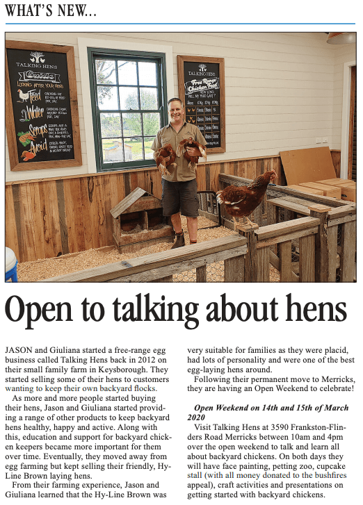 open to talking about hens